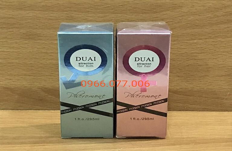 Nước hoa kích dục Duai Love Pheromone, vỏ màu xanh dùng cho nam, vỏ màu hồng thường dùng cho nữ